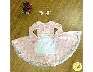 Vestido de Festa Junina Branco e Rosa - Infantil