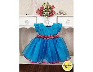 Vestido de Festa Azul e Rosa - Infantil