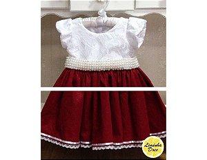 Vestido de Festa Branco e Vinho - Infantil
