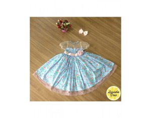 Vestido de Festa Azul Floral Rosa - Infantil