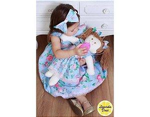 Vestido de Festa Azul Floral Rosa - Menina Boneca