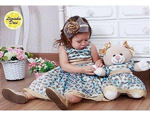 Vestido de Festa de Estampa Coroas - Menina Boneca