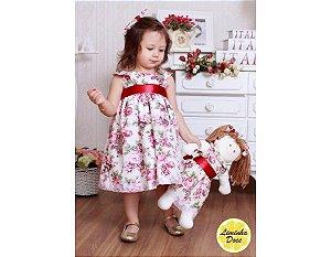 Vestido de Festa Branco Floral Rose - Menina Boneca