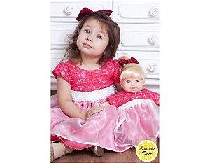 Vestido de Festa Rosa com Pérolas - Menina Boneca