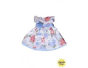 Vestido de Festa Floral Azul com Rosa - Infantil