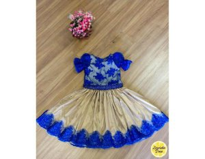 Vestido de Luxo Azul e Dourado - Infantil