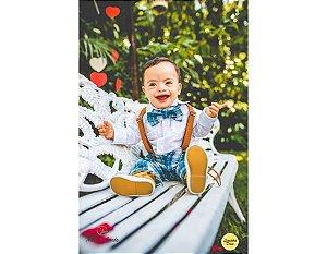 Conjunto de Pajem Xadrez Azul e Branco - Infantil
