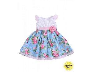 Vestido Branco e Azul Floral - Infantil
