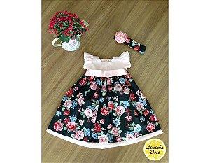 Vestido Rosa Floral Preto - Infantil