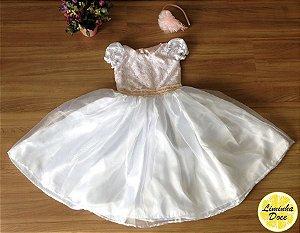 Vestido de Daminha Rosa e Branco - Infantil