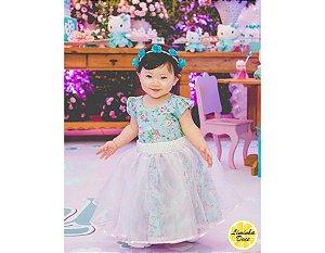Vestido Infantil de Festa com Floral Azul - Infantil