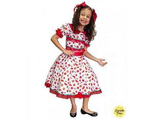 Vestido de Festa Junina Branco com Vermelho - Infantil