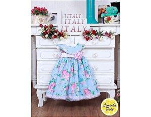 Vestido Azul Floral Rosa - Infantil