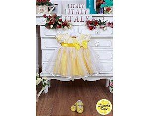 Vestido Amarelo e Branco - Infantil