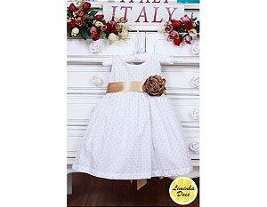 Vestido Branco com Dourado - Infantil