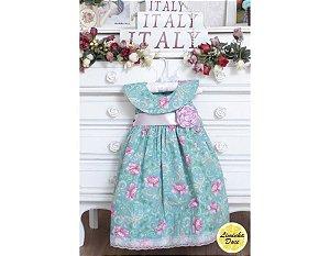 Vestido Verde Floral Rosa - Infantil
