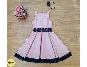 Vestido para Adolescente Rosê e Preto - Teen
