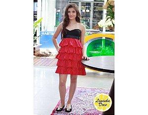Vestido de Festa Preto e Vermelho - Teen