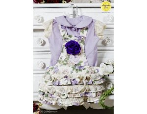 Conjunto de Jardineira Saia Floral Lilás - Infantil