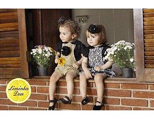 Conjunto de Jardineira Saia Zebrinha - Infantil