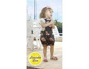 Conjunto de Jardineira Shorts Floral Rosa e Preto - Infantil