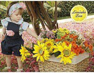 Conjunto de Jardineira Shorts Jeans - Infantil