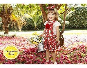 Conjunto Jardineira Shorts Floral Vermelho - Infantil