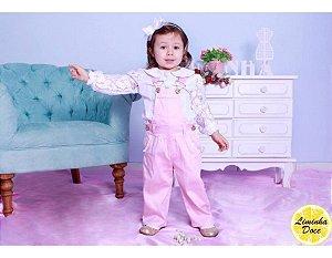 Macacão Jeans Rosa e Blusinha de Renda - Infantil