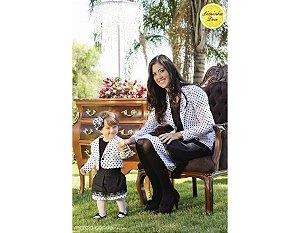 Conjunto Saia e Casaco Branco de Bolinha Preta - Tal Mãe Tal Filha