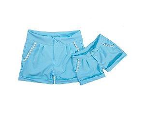 Conjunto Shorts Azul - Tal Mãe Tal Filha