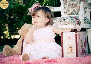 Vestido de Cetim Rosa e Renda Branca - Infantil