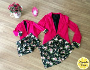 Conjunto Shorts Floral e Casaco Rosa Pink - Tal Mãe Tal Filha
