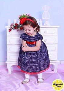 Vestido Azul de Bolinha Branca - Infantil