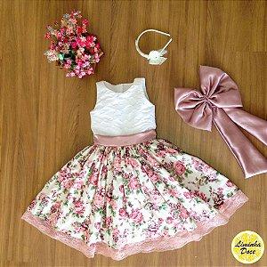 Vestido de Daminha Floral Rose - Infantil