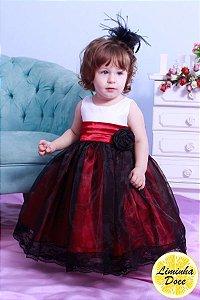 Vestido de Daminha Branco com Vermelho - Infantil