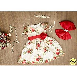 Vestido de Daminha Floral Vermelho - Infantil