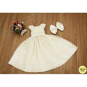 Vestido de Organza Listrada Perola - Infantil