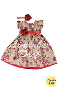 Vestido de Festa Bege Floral Vermelho - Infantil