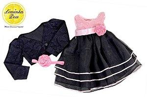 Conjunto Vestido de Renda Preta e Bolero - Infantil