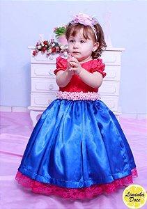 Vestido de Renda Pink e Cetim Azul - Infantil