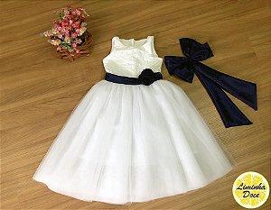 Vestido de Daminha Branco com Faixa Azul - Infantil