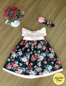 Vestido Rosa e Saia Floral Preta - Infantil