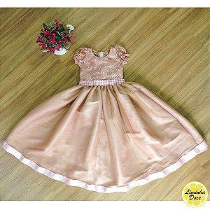 Vestido de Luxo com Renda e Pérolas Rosa - Infantil