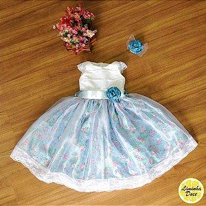 Vestido de Daminha com Floral Azul e Organza - Infantil