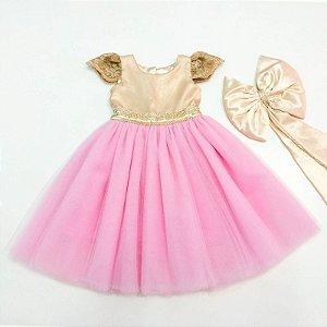 Vestido Daminha Dourado e Rosa - Infantil