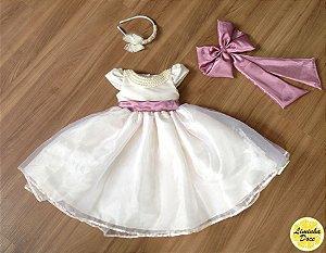 Vestido Daminha Pérola com Rose - Infantil