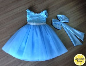 Vestido de Princesa Azul com Tule Bordado - Infantil