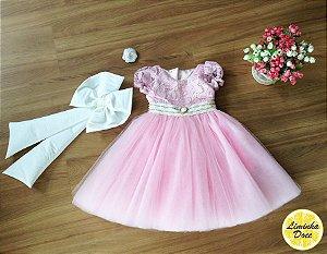 Vestido Rosa com Renda e Tule - Infantil