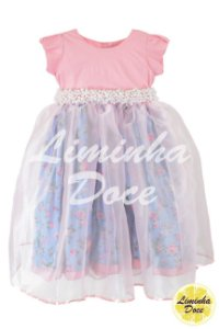 Vestido Infantil Rosa e Azul Floral - Infantil