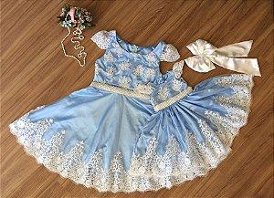 Vestido de Luxo Azul Claro com Branco - Mãe e Filha
